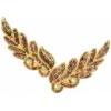 Motif Sequin/beads 26x8cm Leaf Shape Gold Aurora Borealis